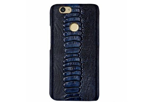 Фирменная элегантная экзотическая задняя панель-крышка с фактурной отделкой натуральной кожи крокодила синего цвета для Huawei P10 Lite / Nova Lite. Только в нашем магазине. Количество ограничено.