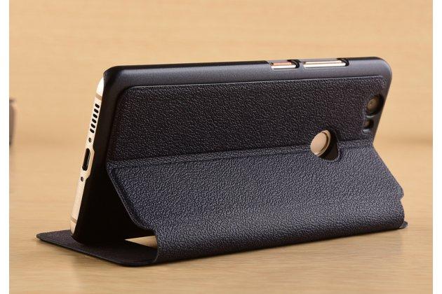 Фирменный чехол-книжка для Huawei P10 Lite / Nova Lite синий с окошком для входящих вызовов и свайпом водоотталкивающий