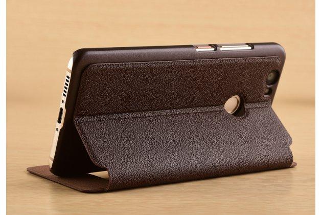 Фирменный чехол-книжка для Huawei P10 Lite / Nova Lite коричневый с окошком для входящих вызовов и свайпом водоотталкивающий