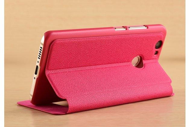 Фирменный чехол-книжка для Huawei P10 Lite / Nova Lite розовый с окошком для входящих вызовов и свайпом водоотталкивающий