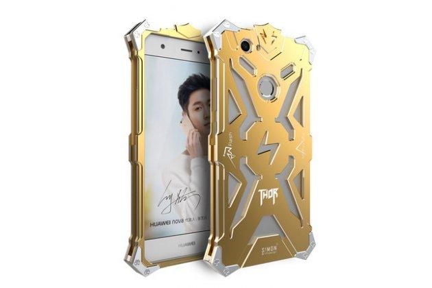 Противоударный металлический чехол-бампер из цельного куска металла с усиленной защитой углов и необычным экстремальным дизайном  для  Huawei P10 Lite / Nova Lite золотого цвета