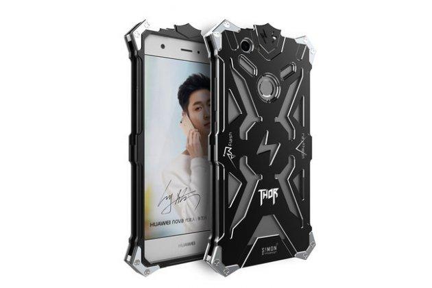 Противоударный металлический чехол-бампер из цельного куска металла с усиленной защитой углов и необычным экстремальным дизайном  для  Huawei P10 Lite / Nova Lite черного цвета