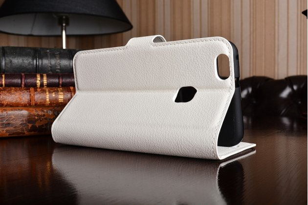 Фирменный чехол-книжка из качественной импортной кожи с подставкой застёжкой и визитницей для Хуавей П10 Лайт белый