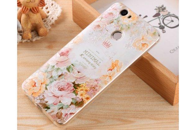 """Фирменная роскошная элитная силиконовая задняя панель-накладка для Huawei Nova Lite  """"тематика Королевская роза"""""""