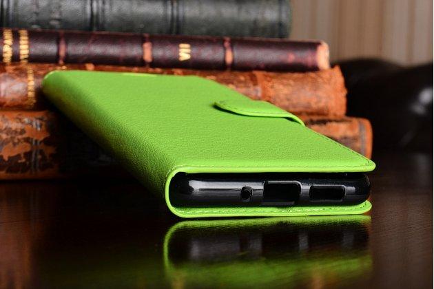 Фирменный чехол-книжка из качественной импортной кожи с подставкой застёжкой и визитницей для Хуавей П10 Лайт зеленый