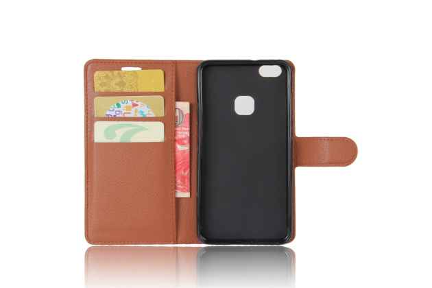 Фирменный чехол-книжка из качественной импортной кожи с подставкой застёжкой и визитницей для Huawei P10 Lite  коричневый