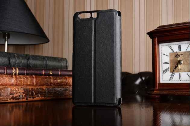 Фирменный оригинальный чехол-книжка для Huawei P10 Plus черный с окошком для входящих вызовов