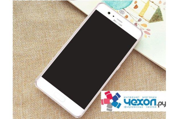 """Фирменная задняя панель-чехол-накладка из прозрачного 3D  силикона с объёмным рисунком для Huawei P10 Plus  тематика """"Кролики в цветах"""" которая огибает логотип чтобы была видна марка телефона"""
