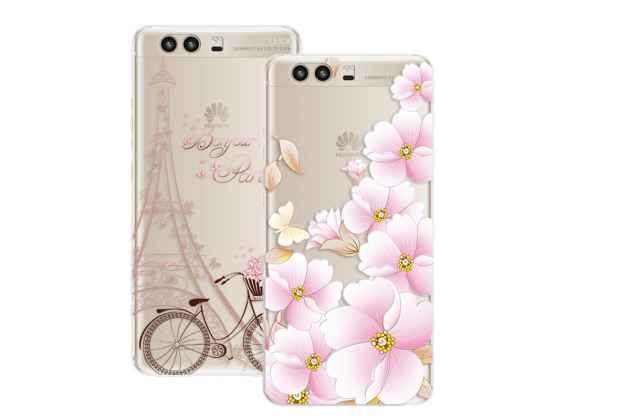 Фирменная задняя панель-чехол-накладка из прозрачного 3D  силикона с объёмным рисунком для Huawei P10 Plus  тематика Париж которая огибает логотип чтобы была видна марка телефона