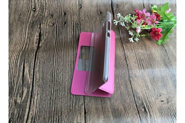 Фирменный оригинальный чехол-книжка для Huawei P10 Plus ярко-розовый с окошком для входящих вызовов