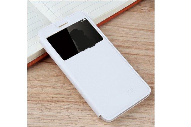 Фирменный оригинальный чехол-книжка из качественной импортной кожи с окном для входящих вызовов  для Huawei P10 Plus белый