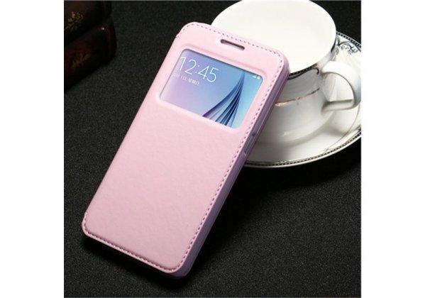 Фирменный оригинальный чехол-книжка из качественной импортной кожи с окном для входящих вызовов  для Huawei P10 Plus нежно-розовый