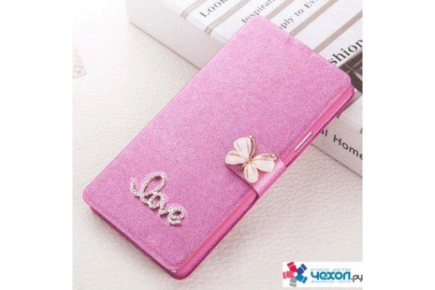 Фирменный роскошный чехол-книжка безумно красивый декорированный бусинками и кристаликами на Huawei P10 Plus розовый