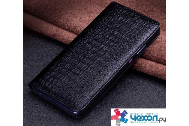 Фирменный роскошный эксклюзивный чехол с фактурной прошивкой рельефа кожи крокодила черный для Huawei P10 Plus. Только в нашем магазине. Количество ограничено
