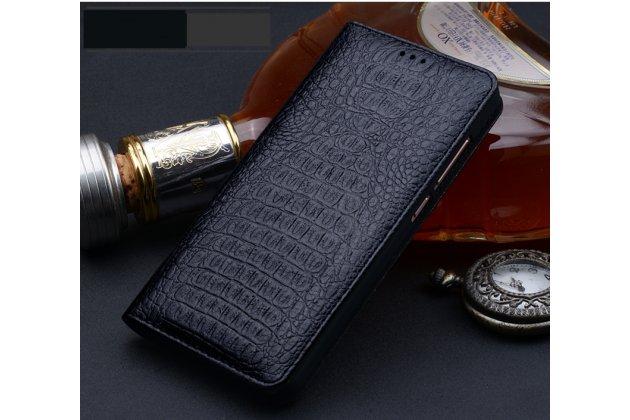 Фирменный роскошный эксклюзивный чехол с фактурной прошивкой рельефа кожи крокодила и визитницей черный для Huawei P10 Plus. Только в нашем магазине. Количество ограничено