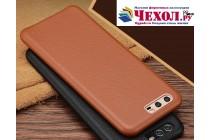 Фирменная роскошная задняя панель-крышка обтянутая импортной кожей для Huawei P10 коричневая