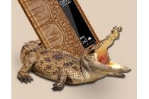 Фирменный оригинальный чехол-книжка из кожи крокодила для Huawei P10 с окошком для входящих вызовов коричневый