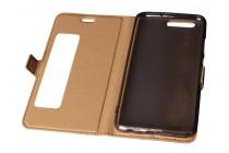 Фирменный оригинальный чехол-книжка с застежкой, мультиподставкой и с окошком для входящих вызовов для Huawei P10 черный кожаный
