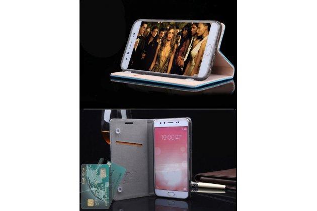 Фирменный чехол-книжка из качественной импортной кожи с мульти-подставкой и визитницей для Huawei P10 голубой