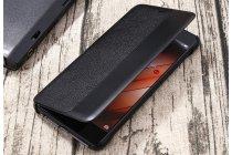 Фирменный оригинальный чехол-кейс из импортной кожи с боковым окном Smart Wake для Huawei P10 в черном цвете