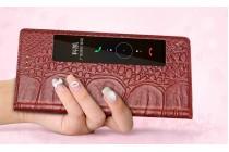 Фирменный оригинальный чехол-книжка из кожи крокодила для Huawei P10 с окошком для входящих вызовов бордовый