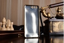 Фирменная премиальная элитная крышка-накладка на Huawei P10 синяя из качественного силикона с дизайном под кожу