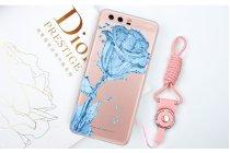 """Фирменная уникальная задняя панель-крышка-накладка из тончайшего силикона для Huawei P10 с объёмным 3D рисунком тематика """"водяная роза"""""""