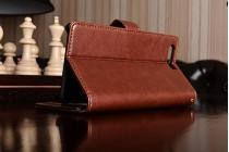 Фирменный чехол-книжка из качественной импортной кожи с подставкой застёжкой и визитницей для Huawei P10 коричневый