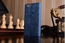 Фирменный премиальный элитный чехол-книжка из качественной импортной кожи с мульти-подставкой и визитницей для Huawei P10  Ретро синий