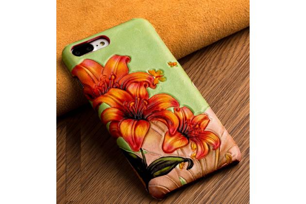 Фирменная роскошная задняя панель-крышка обтянутая импортной кожей для Huawei P8 (GRA-UL10) 5.2 тематика Огненная Лилия