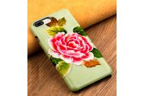 Фирменная роскошная задняя панель-крышка обтянутая импортной кожей для Huawei P8 (GRA-UL10) 5.2 тематика Пион