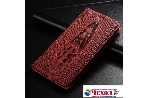 Фирменный роскошный эксклюзивный чехол с объёмным 3D изображением кожи крокодила цвет красное вино для Huawei Y3 2017 (CRO-U00 / CRO-L02) 5.0 . Только в нашем магазине. Количество ограничено