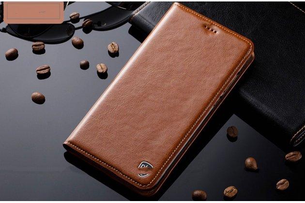 Фирменный роскошный эксклюзивный чехол  из натуральной кожи коричневый для Huawei Y3 2017 (CRO-U00 / CRO-L02) 5.0  Только в нашем магазине. Количество ограничено