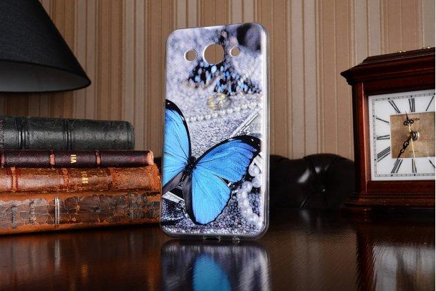 Фирменная роскошная задняя панель-чехол-накладка  из мягкого силикона с безумно красивым расписным 3D рисунком на Huawei Y3 2017 (CRO-U00 / CRO-L02) 5.0 тематика Голубая Бабочка