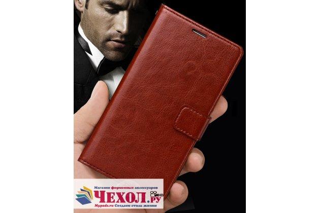 Фирменный чехол-книжка из качественной импортной кожи с подставкой застёжкой и визитницей для Huawei Y5 2017 (MYA-AL10 / MYA-U29) / Huawei Honor 6 Play коричневый