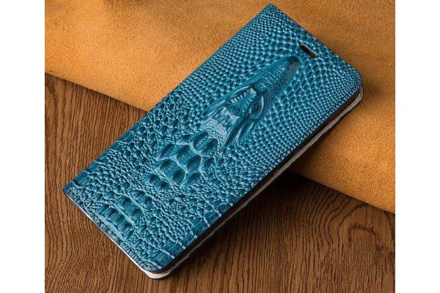 Фирменный роскошный эксклюзивный чехол с объёмным 3D изображением кожи крокодила бирюзовый для Huawei Y5 2017 (MYA-AL10 / MYA-U29) / Huawei Honor 6 Play. Только в нашем магазине. Количество ограничено