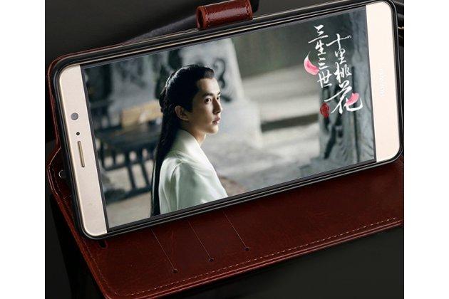Фирменный чехол-книжка из качественной импортной кожи с подставкой застёжкой и визитницей для Huawei Y5 2017 (MYA-AL10 / MYA-U29) / Huawei Honor 6 Play черный