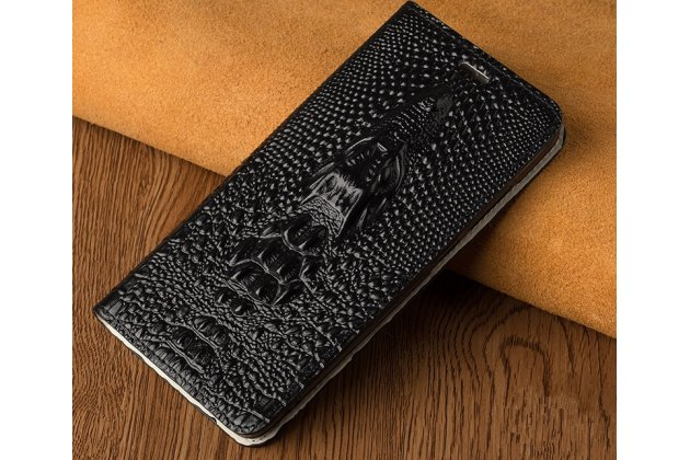 Фирменный роскошный эксклюзивный чехол с объёмным 3D изображением кожи крокодила черный для Huawei Y5 2017 (MYA-AL10 / MYA-U29) / Huawei Honor 6 Play. Только в нашем магазине. Количество ограничено