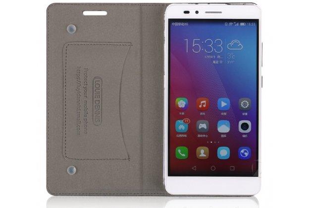 Фирменный чехол-книжка из качественной импортной кожи с мульти-подставкой и визитницей для Huawei Y5 2017 (MYA-AL10 / MYA-U29) / Huawei Honor 6 Play черный