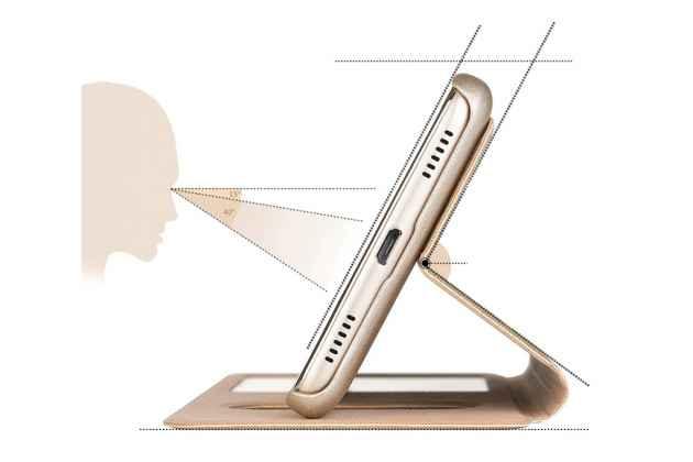 Фирменный чехол-книжка для Huawei Y5 2017 (MYA-AL10 / MYA-U29) / Huawei Honor 6 Play золотой с окошком для входящих вызовов и свайпом водоотталкивающий