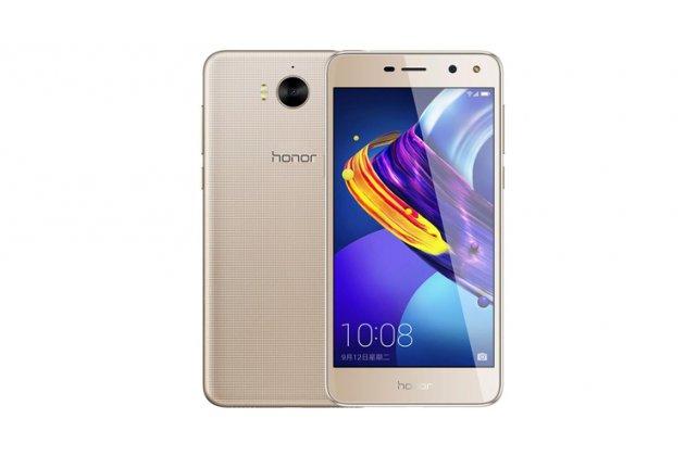 Фирменный оригинальный чехол-книжка для Huawei Y5 2017 (MYA-AL10 / MYA-U29) / Huawei Honor 6 Play золотой с окошком для входящих вызовов водоотталкивающий