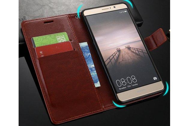 Фирменный чехол-книжка из качественной импортной кожи с подставкой застёжкой и визитницей для Huawei Y5 2017 (MYA-AL10 / MYA-U29) / Huawei Honor 6 Play голубой