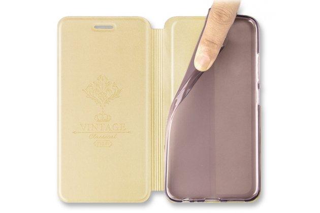Фирменный чехол-книжка водоотталкивающий с мульти-подставкой на жёсткой пластиковой основе для Huawei Y5 2017 (MYA-AL10 / MYA-U29) / Huawei Honor 6 Play розовое золото