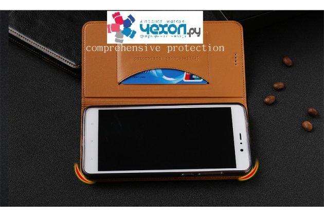 Фирменная роскошная элитная премиальная задняя панель-крышка для Huawei Y7 (TRT-LX1) 5.5 из качественной кожи буйвола с визитницей коричневый