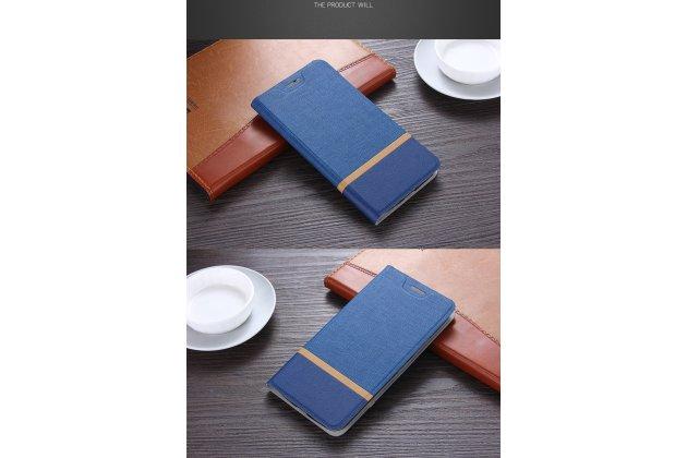 Фирменная роскошная элитная премиальная задняя панель-крышка на металлической основе обтянутая импортной кожей для Huawei Y7 (TRT-LX1) 5.5 королевский синий