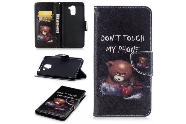 Фирменный чехол-книжка с рисунком на тему Don not touch my phone на Huawei Y7 (TRT-LX1) 5.5