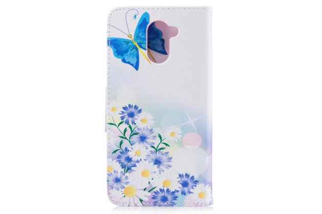 Фирменный чехол-книжка с рисунком на тему Две синие бабочки на Huawei Y7 (TRT-LX1) 5.5