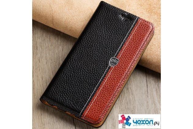 Фирменный премиальный чехол бизнес класса для Huawei Y7 (TRT-LX1) 5.5 с визитницей из качественной импортной кожи Ретро черно-коричневый