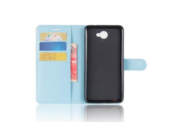 Фирменный премиальный элитный чехол-книжка из качественной импортной кожи с мульти-подставкой и визитницей для Huawei Y7 (TRT-LX1) 5.5 голубой