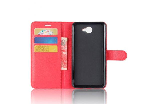 Фирменный премиальный элитный чехол-книжка из качественной импортной кожи с мульти-подставкой и визитницей для Huawei Y7 (TRT-LX1) 5.5 красный